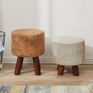 Shoe changing stool household door fashion living room sofa solid wood adult small louis couch Minimalist Modern leather ottoman