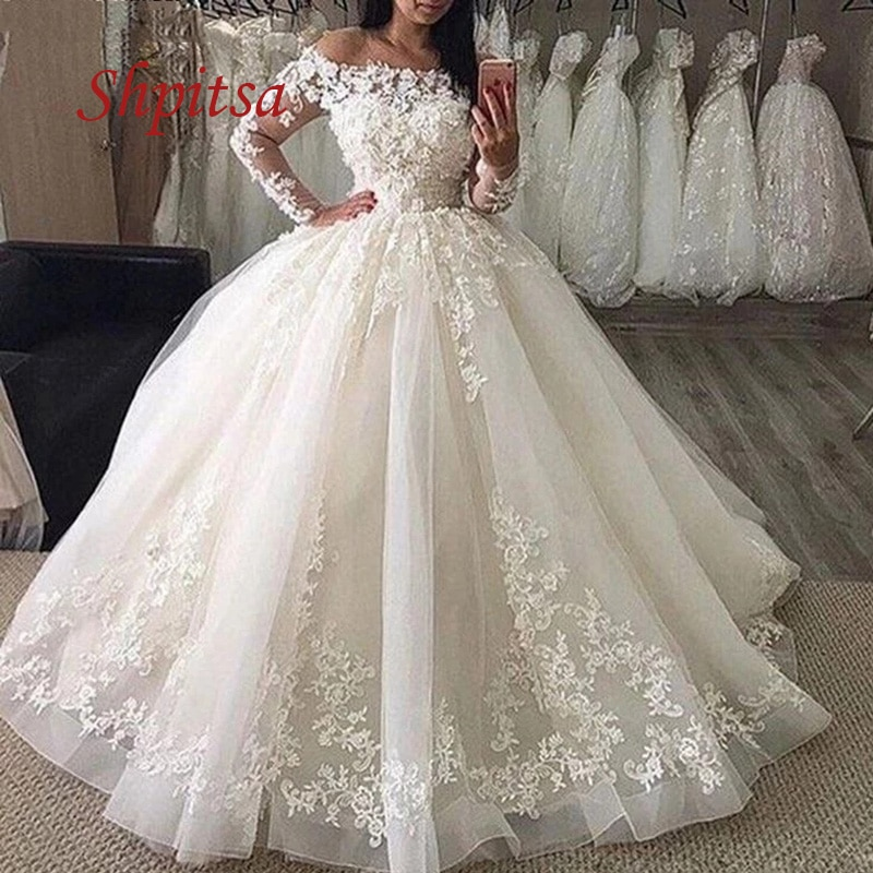 Promo Sexy Long Sleeve Lace Wedding Dresses Tulle White Ivory Ball Gown Plus Size Off Shoulder Women Weeding Bridal Bride Dresses