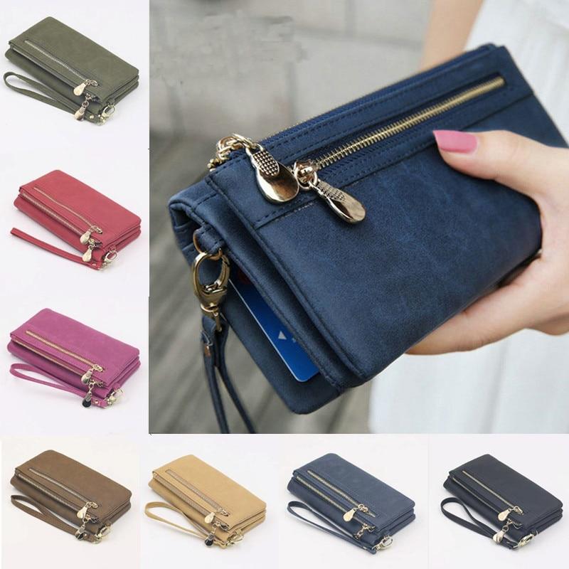 Fashion Women Wallets Dull Polish Leather Wallet Double Zipper Day Clutch Purse Wristlet Portefeuill