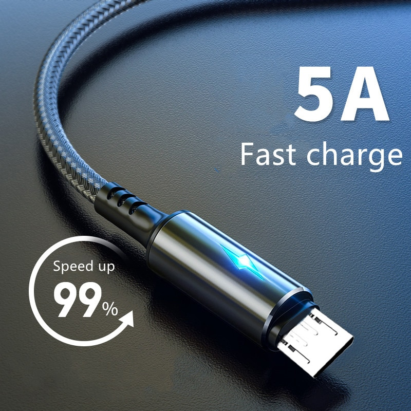 Micro USB Cable 5A LED Fast Charging Micro Data Cord For Huawei Samsung Xiaomi Android Mobile Phone