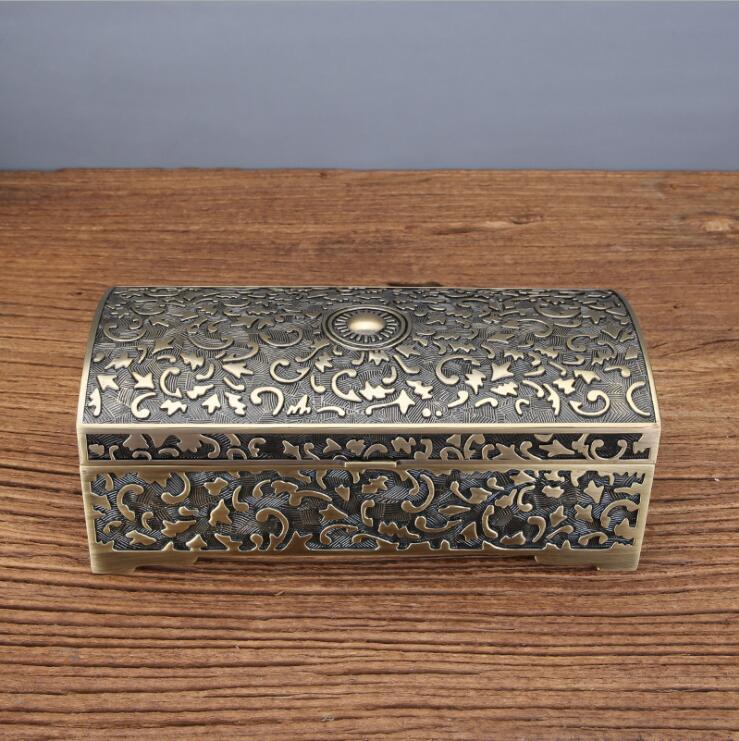 Europe retro metal jewelry box organizer box metal tin box storage boxes cotton swab holder cotton buds container Z195