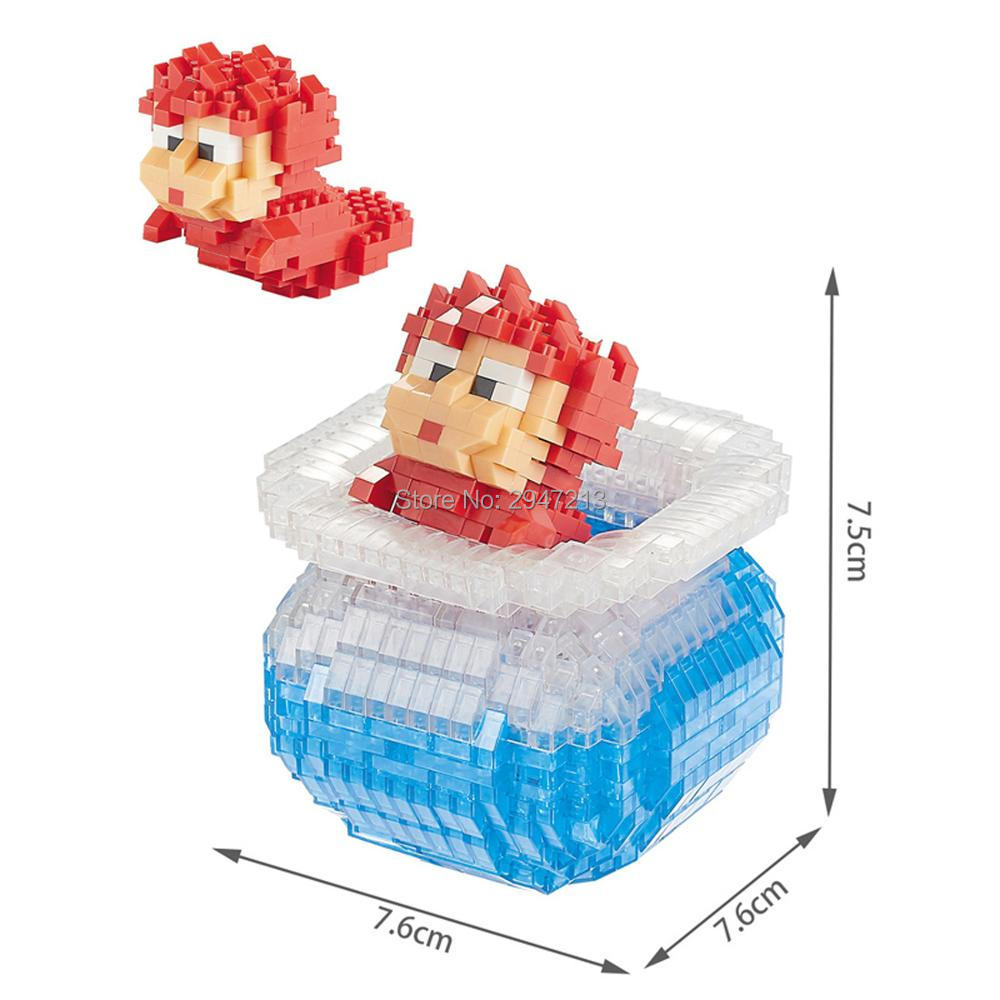 hot Lepining creators Classic MIYAZAKI Hayao cartoon Ponyo Cliff goldfish bowl model mini micro diamond block bricks toys gift
