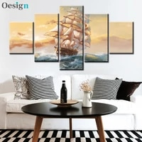 5 panels ship boats sailing canvas painting pictures decoracion canvas oil paintings wall art pictures for living room decor