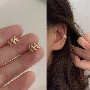 Модные серьги-клипсы с золотыми листьями для женщин, без пирсинга, в стиле рок, винтажные, с кристаллами, манжеты для ушей, ювелирные изделия ...