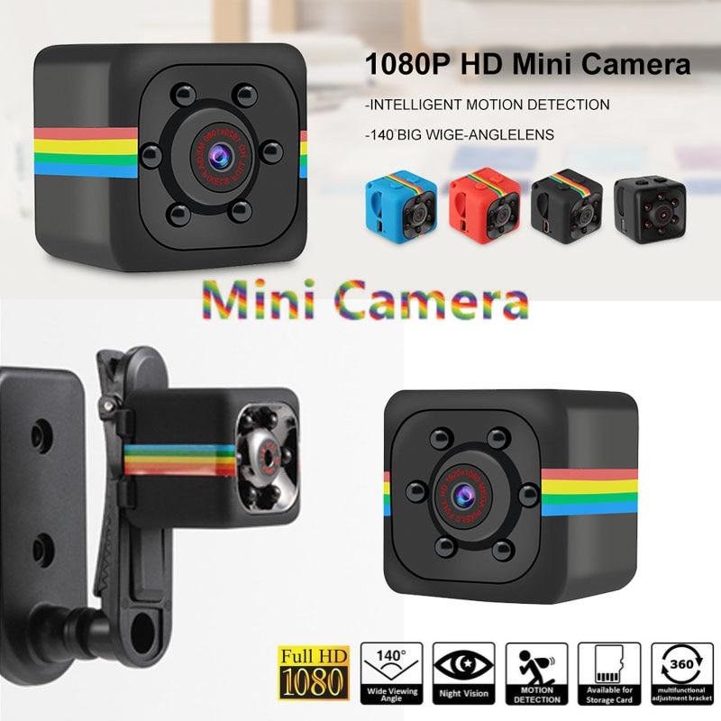 Sq11 mini câmera em hd 1080p com visão noturna, micro filmadora com sensor de movimento e dvr, câmera para esportes sq 11 com caixa