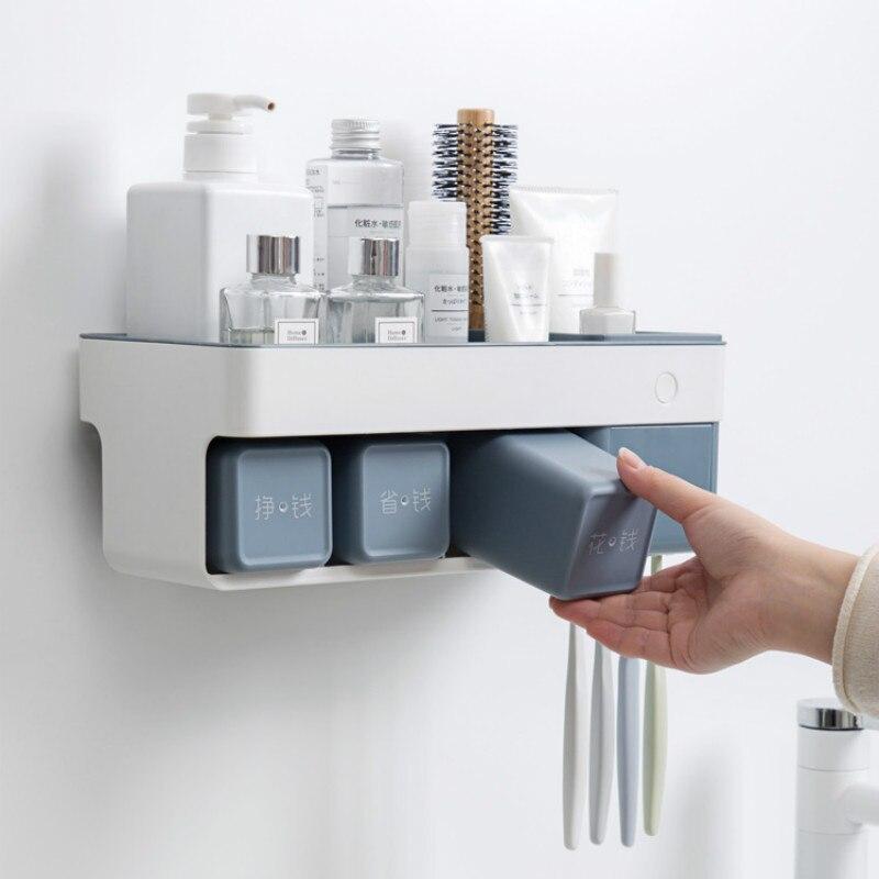 Perforación-montado en la pared titular de cepillo de dientes de enjuague bucal taza set de lavado montado en la pared de titular de cepillo de dientes de WJB32504