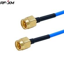 1 pièces SMA à SMA connecteur droit RF câble Coaxial SMA mâle à SMA mâle RG405 086 câble bleu adaptateur de peau