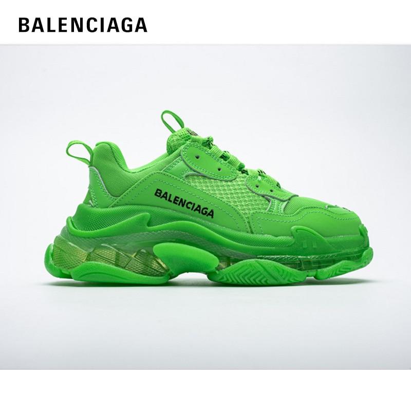 2021 New Original Triple S 3 Clear Sole Black Shoes Balanciaga Women Dad Clear Sole White Trainers F