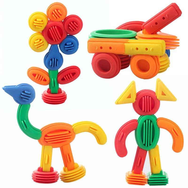 Bloques de construcción divertidos de plástico para niños, juguetes educativos para niños, 3D juguete de construcción, bloques divertidos de diseño DIY para bebés