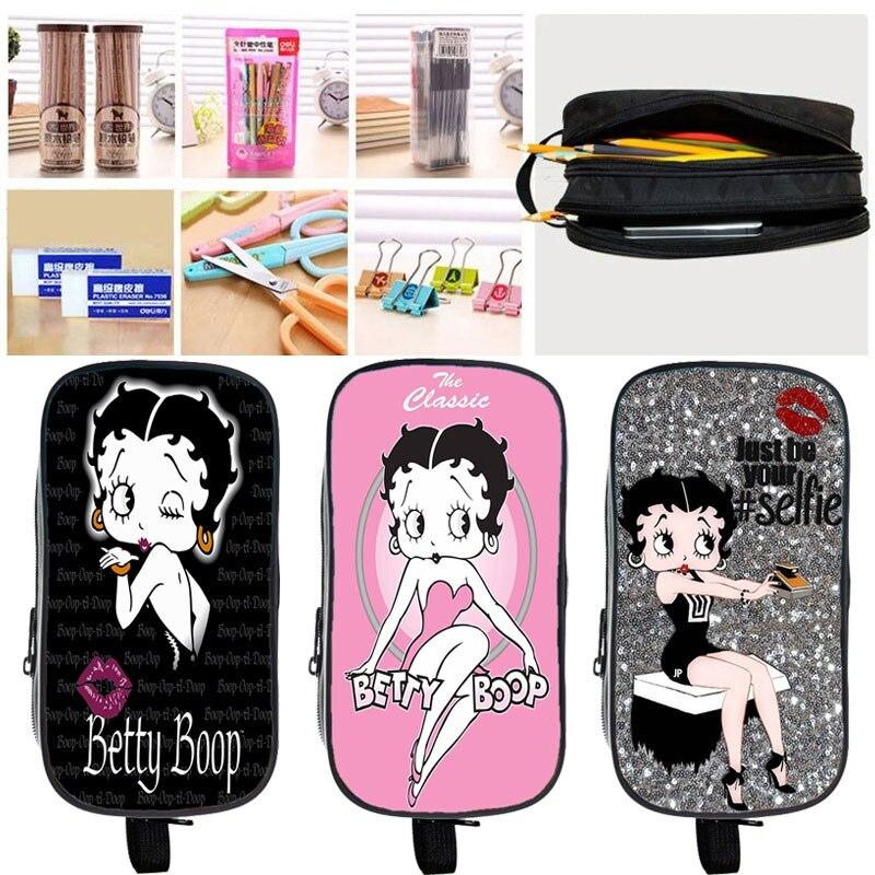 Caixa de Lápis Caixa de Maquiagem Crianças dos Desenhos Bolsa de Armazenamento de Artigos de Papelaria Betty Boop Dupla Camada Animados Caneta Menina Sexy Lápis Bolsa 2021