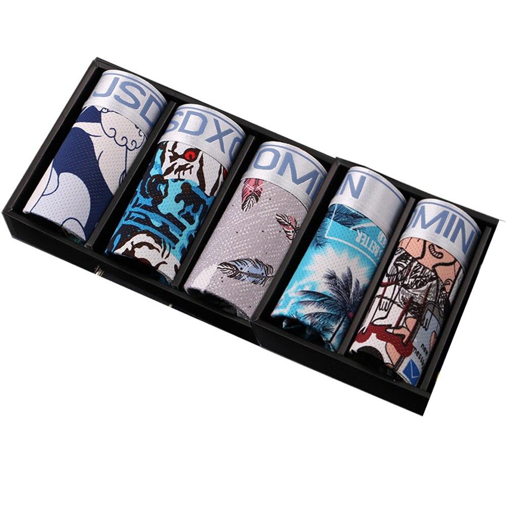 5 шт./лот, мягкие мужские трусы-боксеры, дышащие шорты из ледяного шелка, u-образные сексуальные мужские трусы-боксеры