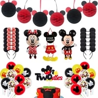 minnie mouse mickey mouse theme kids birthday party decoration children baby shower supplies balloon pull flower year old flag