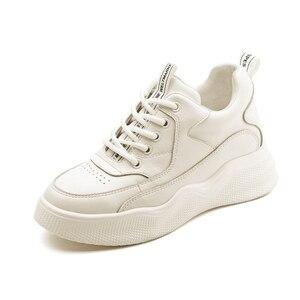 Women's White Sneakers Leather Hidden Heel Sneakers Women's Platform Shoes Spring 2021 Fall Shoes Sneakers