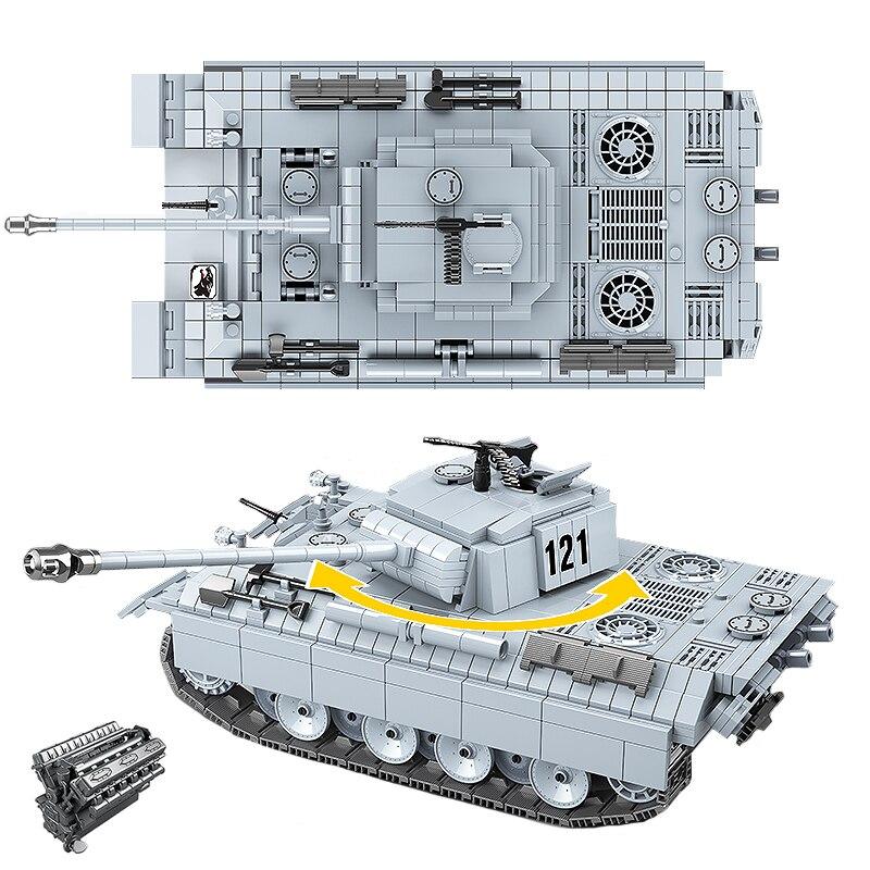 Военный пантера Танк 121 строительные блоки немецкий танк Кирпичи WW2 армейский полицейский солдат оружие игрушки подарки для детей