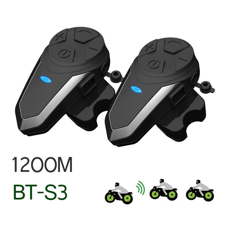 2 قطعة BT-S3 خوذة إنترفون 1200 متر بلوتوث متوافق سماعة ل 3 الدراجين دراجة نارية مجموعة الحديث خوذة إنترفون BTS3