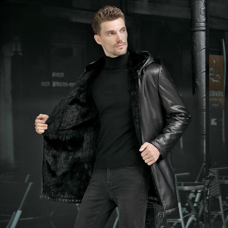 Mens Mink Jackets Head Layer Fetal Cowhide Leather Jacket Men Whole Mink Inner Long Style Windbreaker Top Layer Cow Leather Coat