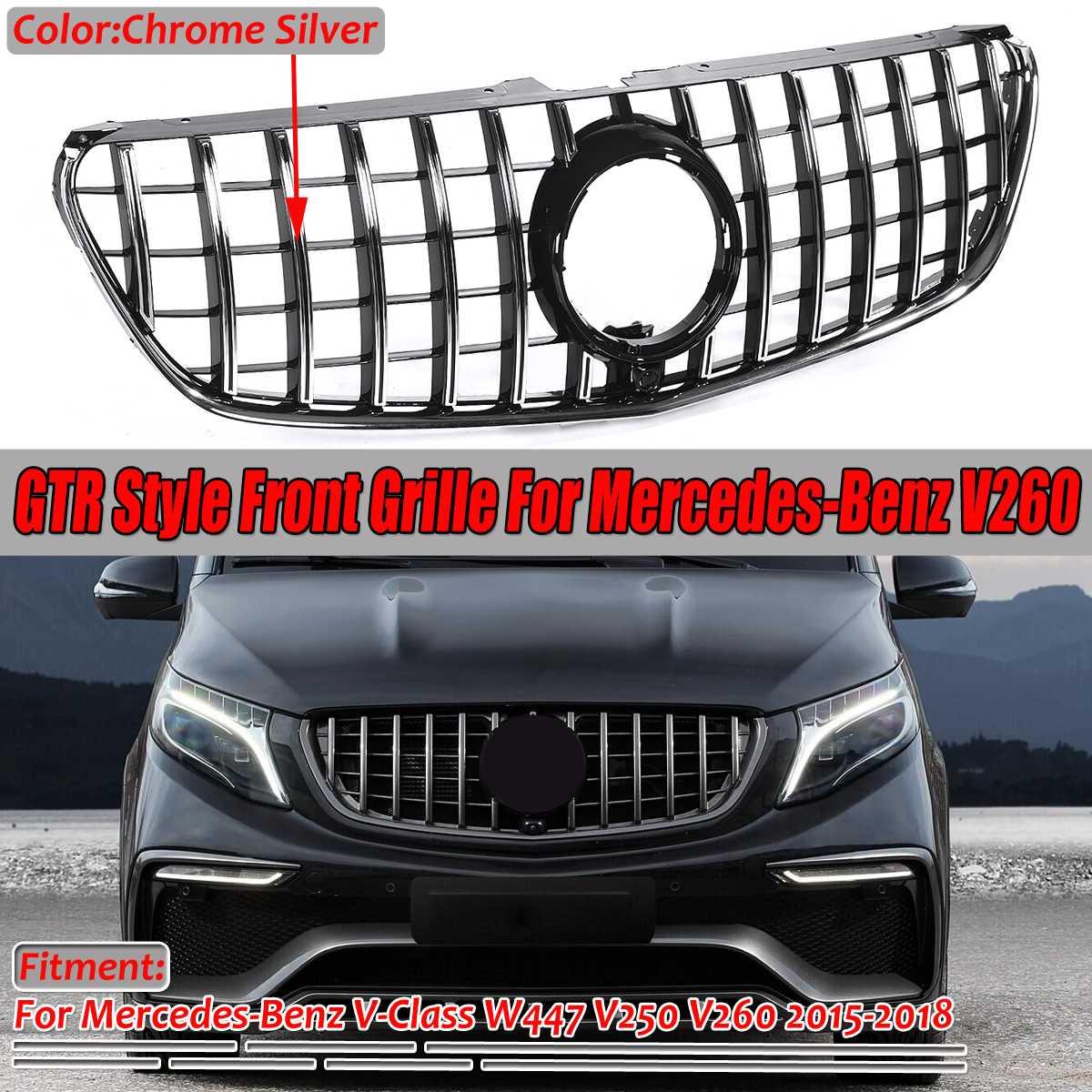 Chrom/czarny W447 GTR styl kratka Grill przedni zderzak samochodowy GT Grill kratka dla mercedesa dla Benz v-class W447 V250 V260 2015-2018