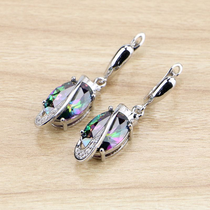 Natural oval mystic arco-íris zircônia cúbica balançar brincos 925 prata esterlina jóias gota brinco para as mulheres livre presentes caixa