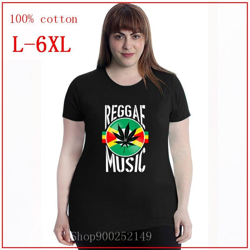 Música Reggae Rasta Jamaica Canabbis vinilo, el mejor regalo, Idea blanca de gran tamaño 4XL 5XL 6XL, diseños para mujeres, ropa de cuello redondo