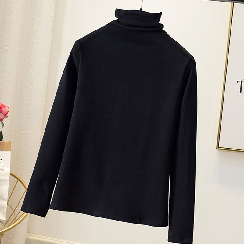 Camiseta de cuello alto a rayas para mujer, Tops elásticos de manga larga, camiseta interior básica de hombro caído, Jersey perfecto básico XL-4XL