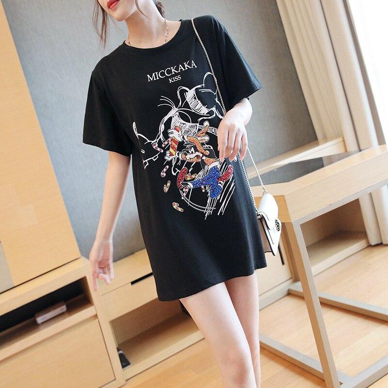Модная футболка с рисунком из мультфильма, забавная женская футболка с коротким рукавом, свободная хлопковая длинная футболка, женская чер...