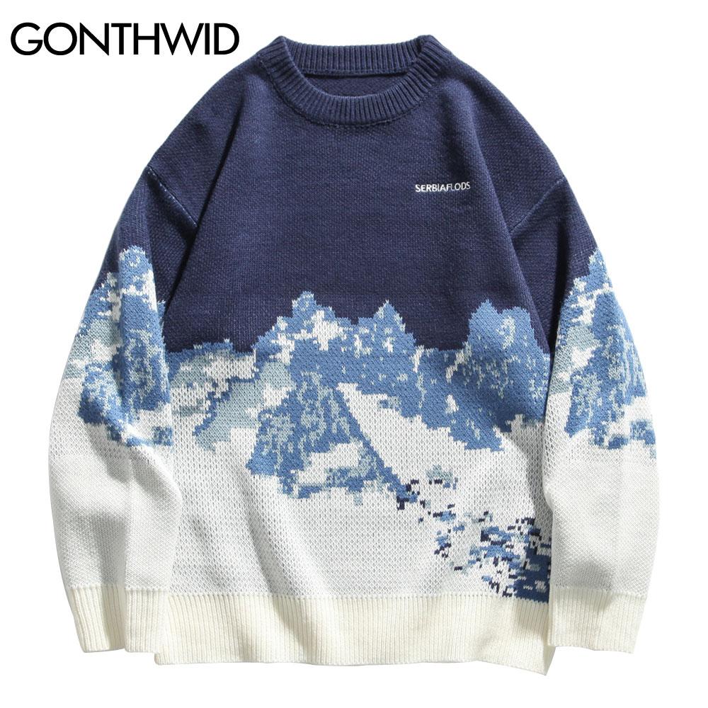 سترات من GONTHWID للرجال مُحاكة على شكل جبال الثلج بلوفر هاراجوكو رجالي مُحاك على الموضة ملابس خروج رجالية