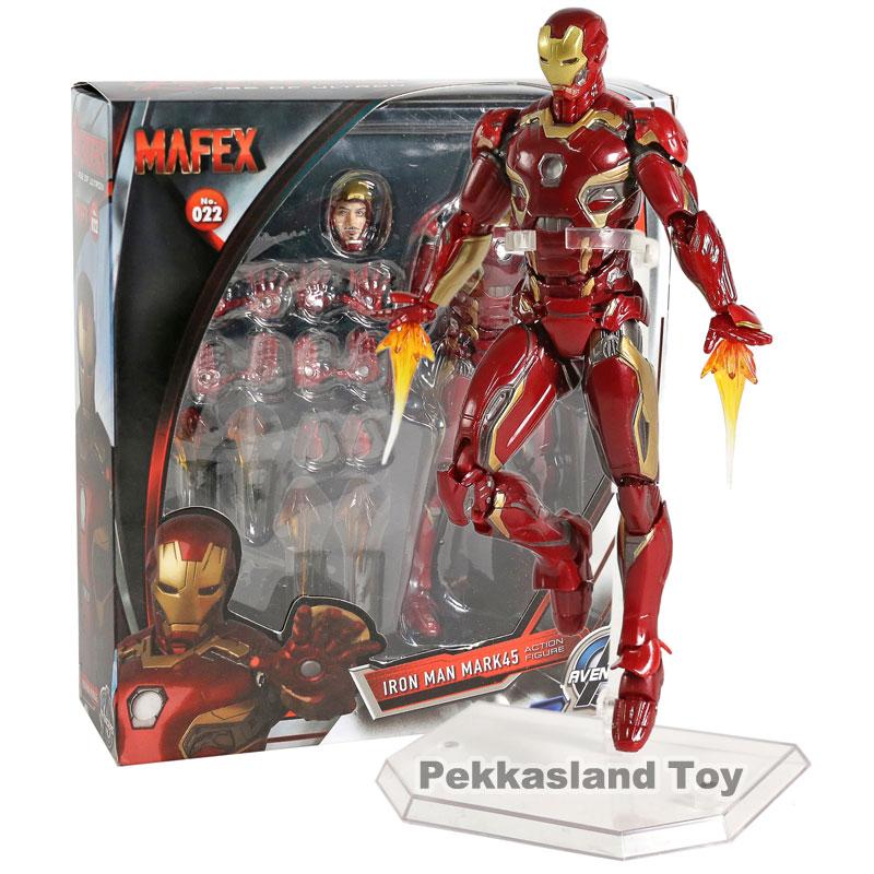 Vengadores League Iron Man Mark45 Mafex 022 PVC figura de acción muñeca de juguete Regalo de Cumpleaños de Navidad