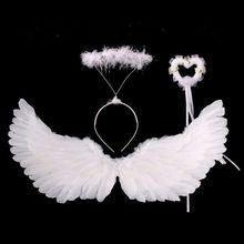 طفل بنات الملاك زي مجموعة الأبيض توتو فستان ريشة أجنحة عقال عصا G99C