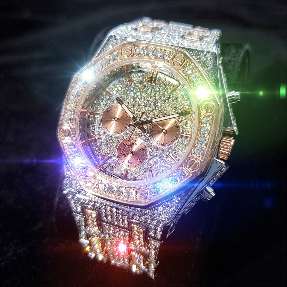 MISSFOX كامل الماس رجل ساعات المعصم مضيئة أعلى ساعة كوارتز فاخرة للرجال ارتفع الذهب والفضة موضة هدية ساعة رجالية