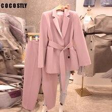 Coréen 2020 printemps automne costume femmes à lacets pantalon costume cranté Blazer ensemble et pantalon tenue de bureau pantalon costume ensembles