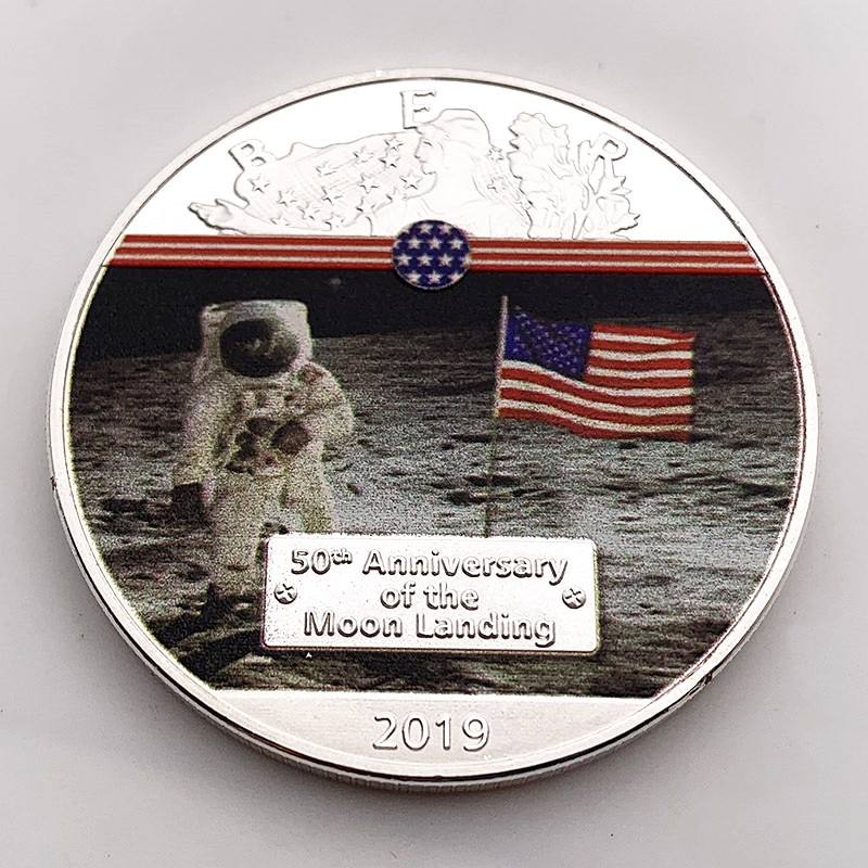 Американский Аполлон монета с серебряным покрытием для земли на Луну первый шаг liberty монеты сувениры