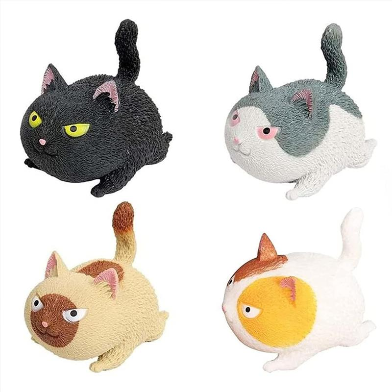 4Pcs Funny Cat-Shaped Stress Ball Toys Squeezing Toys Sensory Toys for Kids and Adults Cat Toys