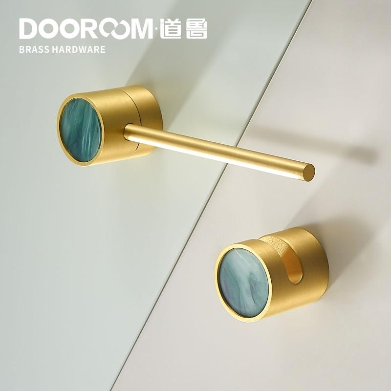 Dooroom Brass Furniture Handles Latch Lock Nordic Wardrobe Dresser Cupboard Cabinet Pulls Knobs