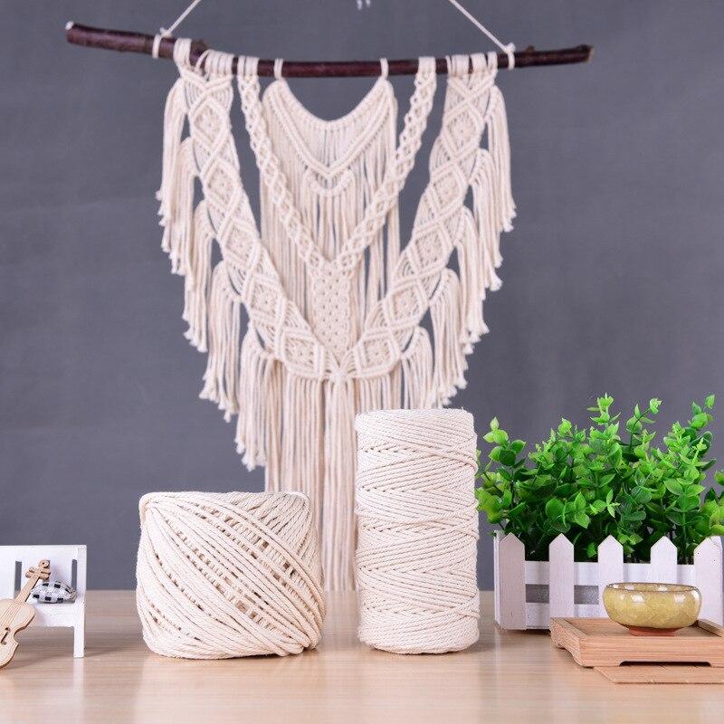 1-10mm Macrame Rope Twisted String sznurek bawełniany do Handmade Natural Beige Rope DIY akcesoria 10/25/50/100/200/400M