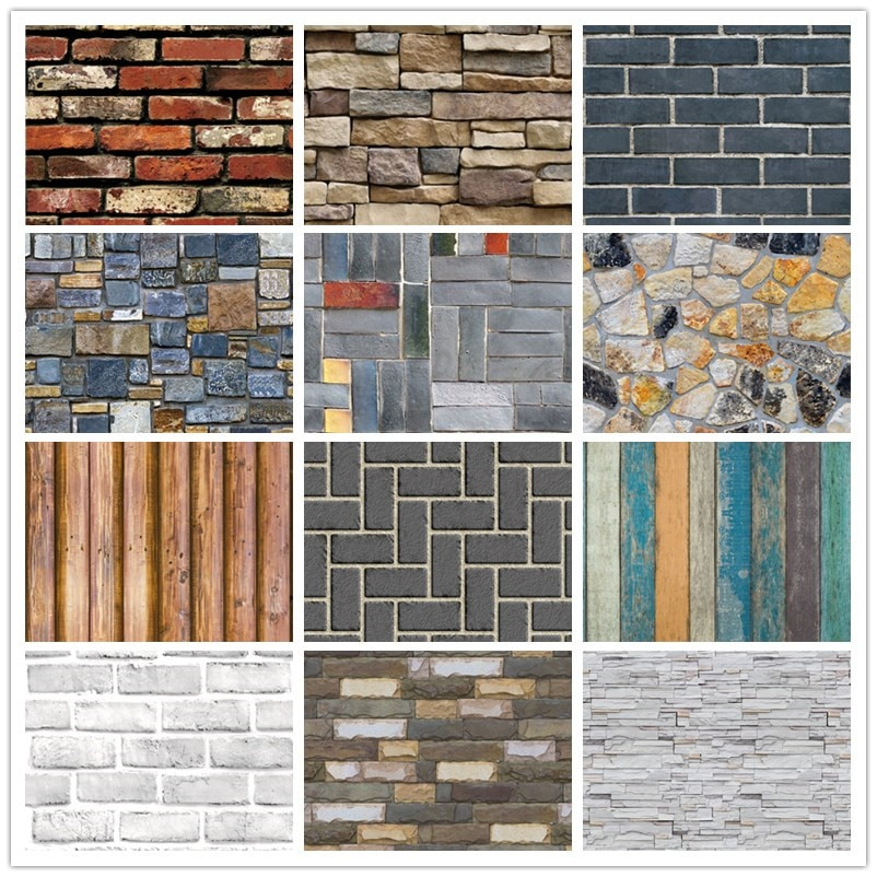 3D PVC Home Decor Wood Grain Wall Stickers Paper Brick Stone wallpaper Rustic Effect Self-adhesive Home Decor Sticker wallpaper home decor 3d pvc wood grain wall stickers paper brick wallpaper self adhesive home decor kids room wallpaper brick