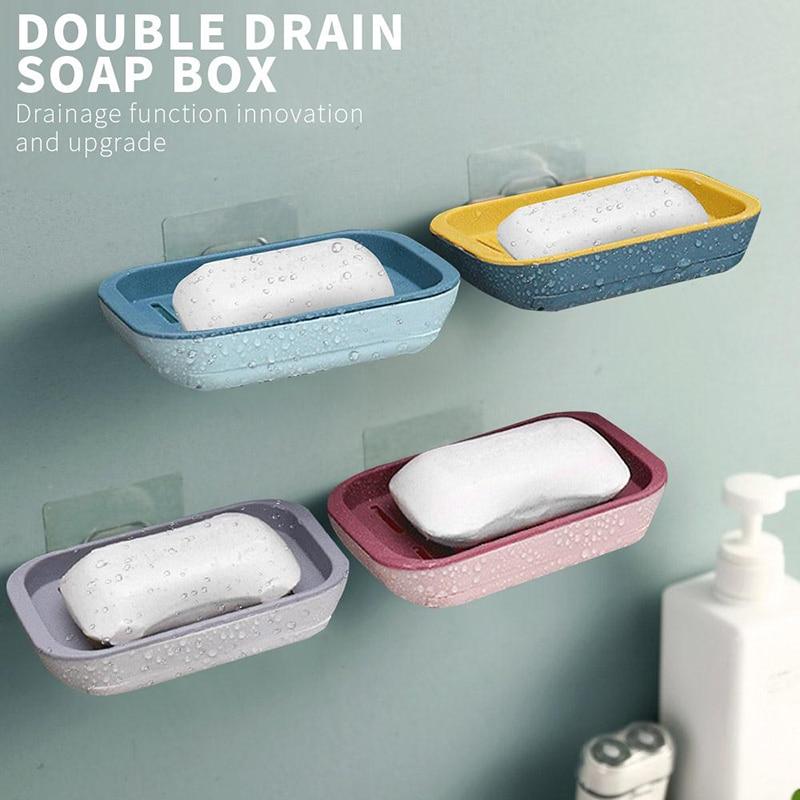 Фото - Настенный двухслойный держатель для мыла, самоклеящаяся подставка для мыла, губки, ванной комнаты, без сверления электрическая самоклеящаяся подставка для ванной комнаты
