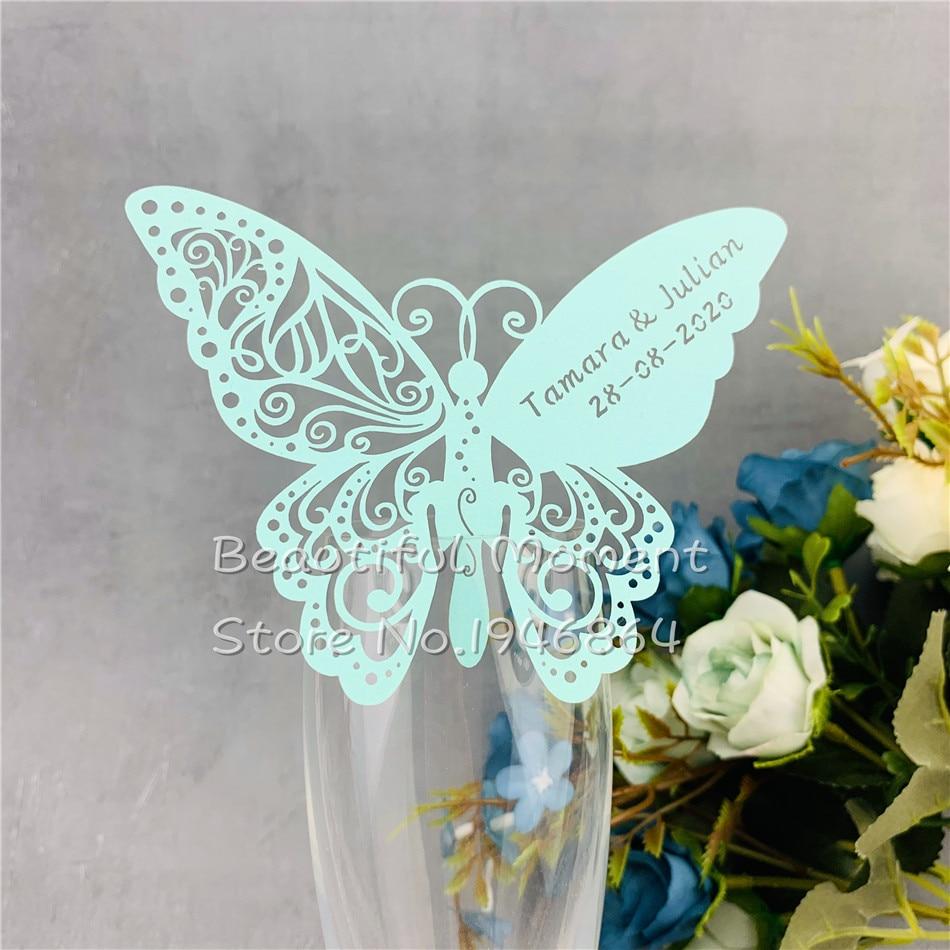60 unids/lote Tarjeta de lugar de papel de corte láser de mariposa/tarjeta para el acompañante/tarjeta de copa de vino personalizada para decoración para fiesta de boda