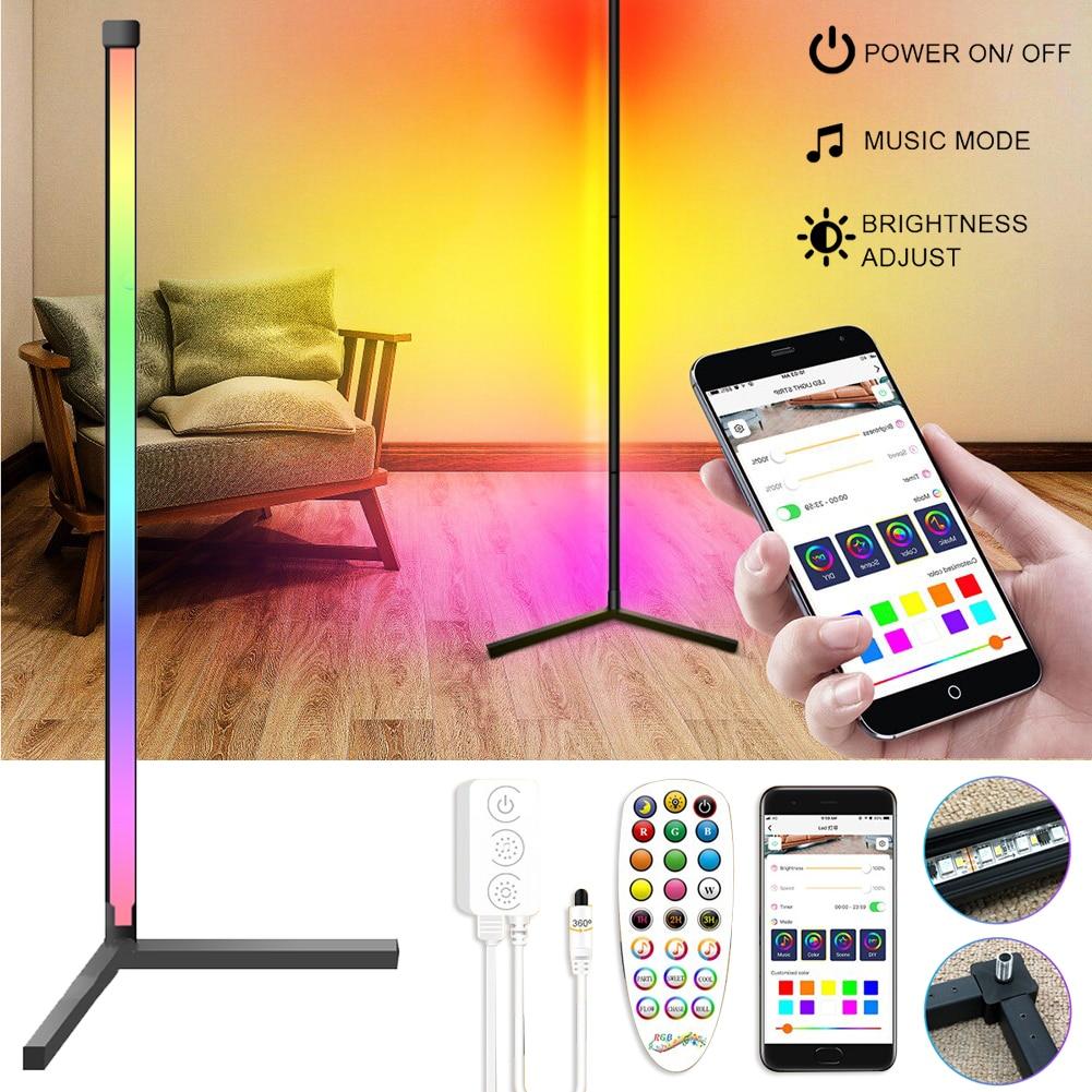 20W DC5V Corner Floor Atmosphere Lamp RGB Dimming LED Lamp APP/Remote Control USB Bedroom Standing Decor 360 Receiver Light