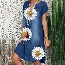40# Women Floral Print Denim Dress Casual Shirt Dress Short Sleeve V Neck Loose Knee-length Dress Pl