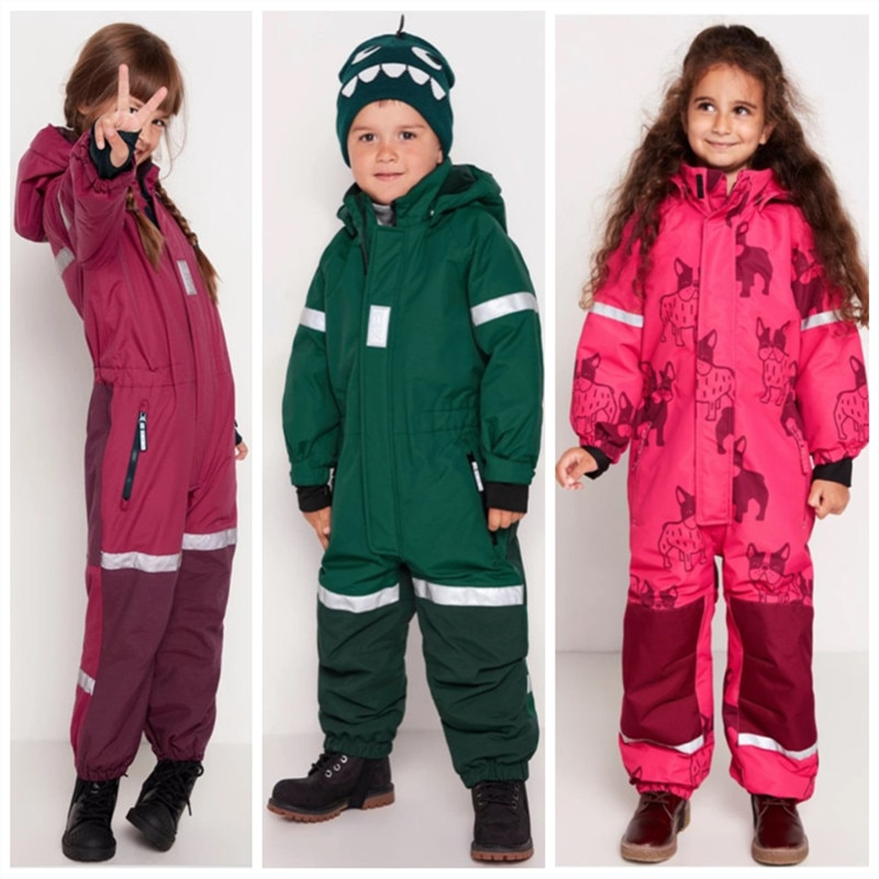 Children's ski clothes girls' one-piece baby boys winter warmth playing with snow jumpsuit windproof, waterproof and snow-proof