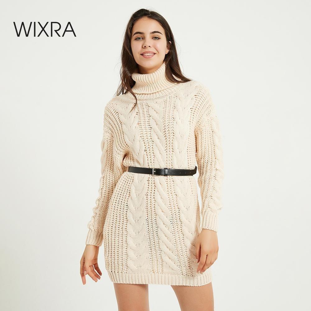 Wixra suéter grueso de cuello alto vestido con cinturón de mujer Otoño Invierno sólido alto elástico de punto Vestidos cortos