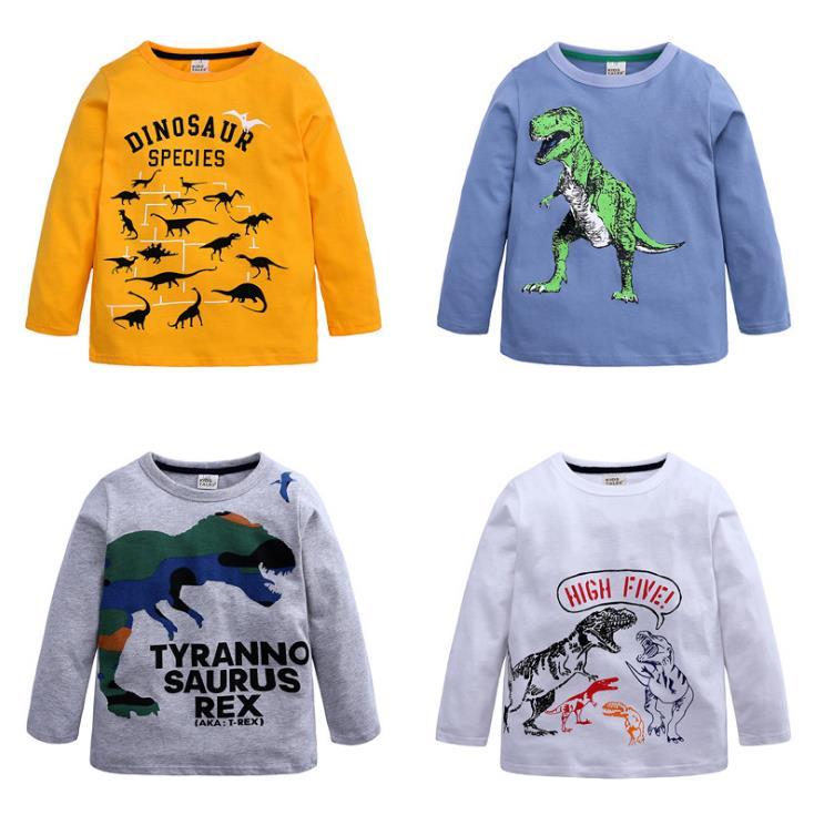 Camiseta de dinosaurio para niños, Camiseta con cuello redondo para bebé, nueva ropa con estampado de dinosaurio, ropa de bebé de otoño para niños Simple y salvaje