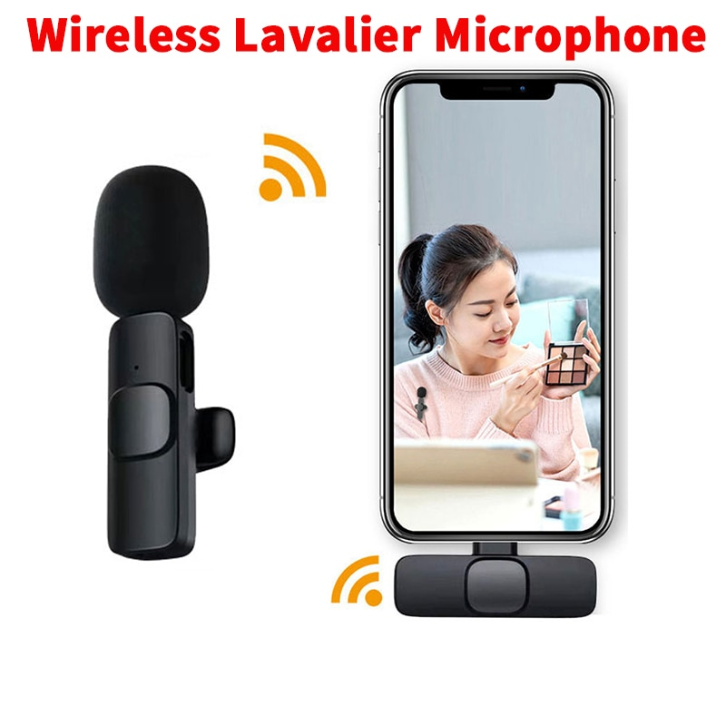 Wireless Lavalier Microphone Portable Audio Video Recording Mic For IPhone Android Live Game Mobile