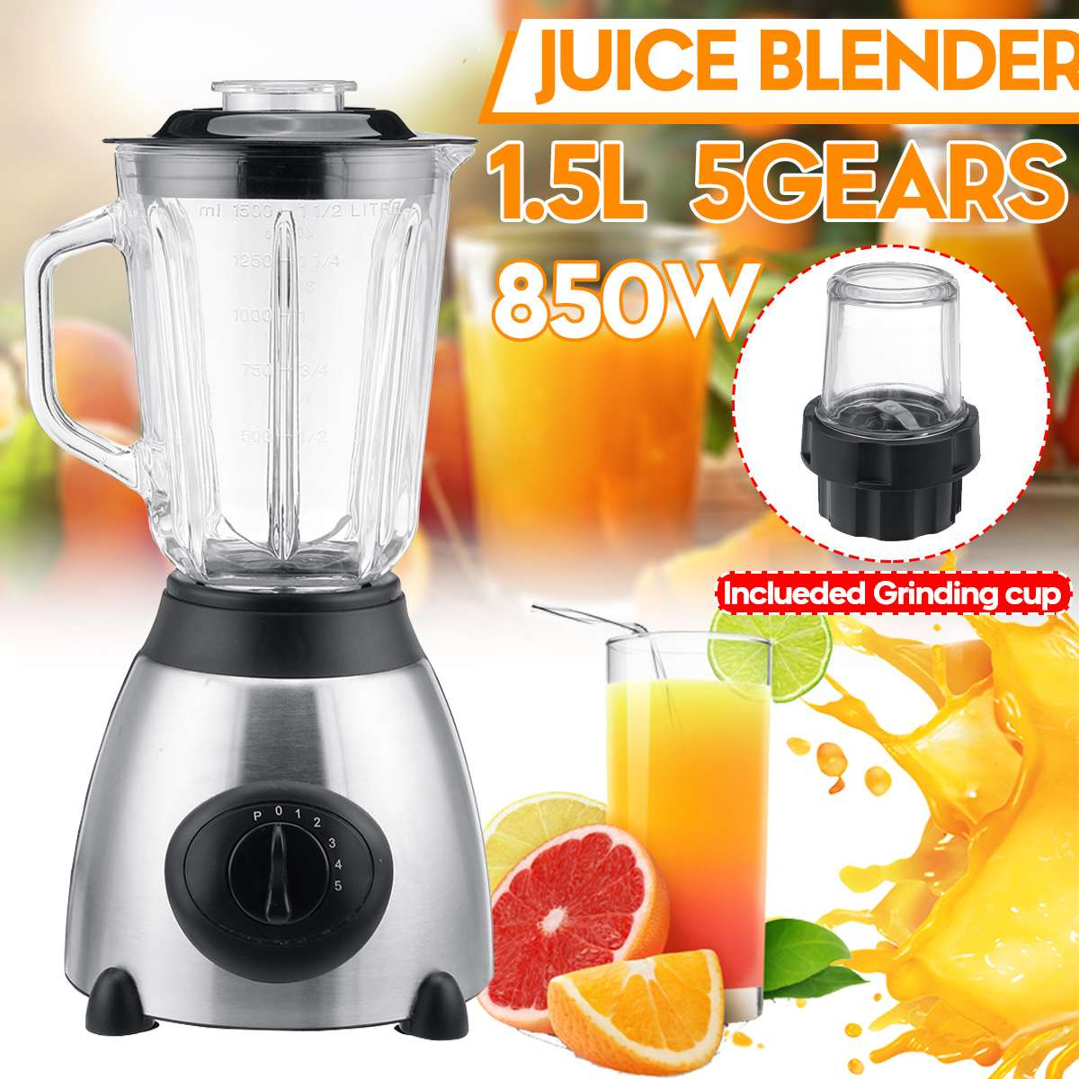 850W 1.5L 2 in 1 Fruit Vegetables blenders Cup BPA FREE Electric Juicer Ice Smoothie Mixer Machine Home Kitchen Food Processor