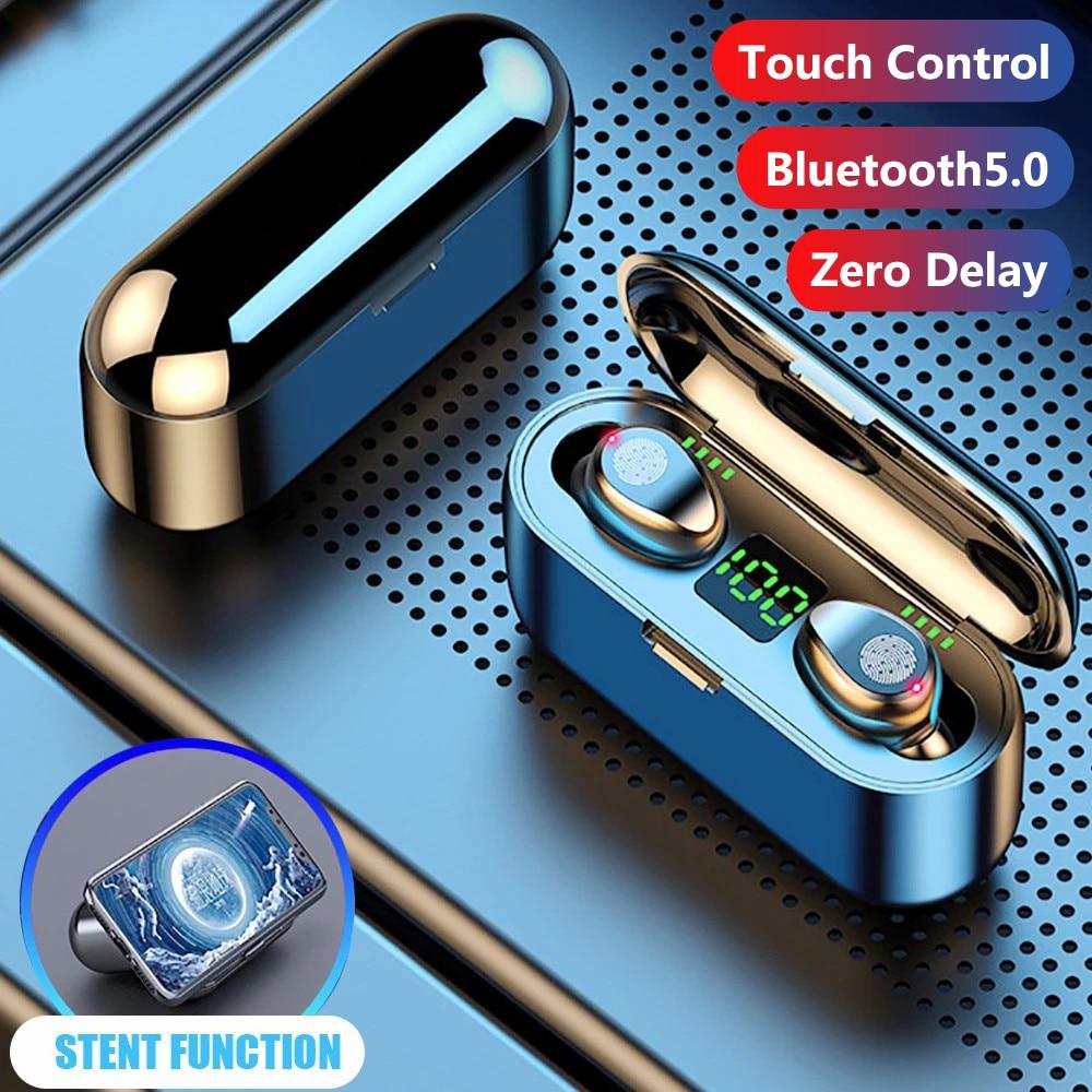 TWS Bluetooth 5.0 Wireless Earphones Earbuds Sports 2200mAh Charging Box Waterproof 9D HiFi Stereo Wireless Bluetooth Headphones