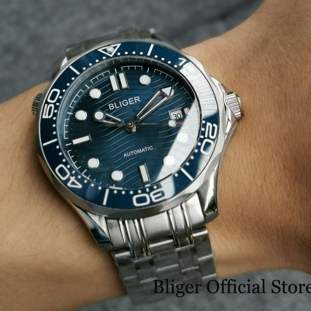 BLIGER-ساعة رجالية ميكانيكية فاخرة ، ساعة يد رجالية ، سوار فولاذي بحركة ميوتا NH35 ، مع إطار سيراميك ، وظيفة التاريخ ، 41 مللي متر