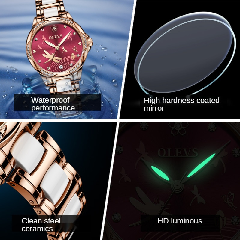 Fully automatic mechanical watch ceramic steel band waterproof watch ladies women's watch tide luminous watch enlarge