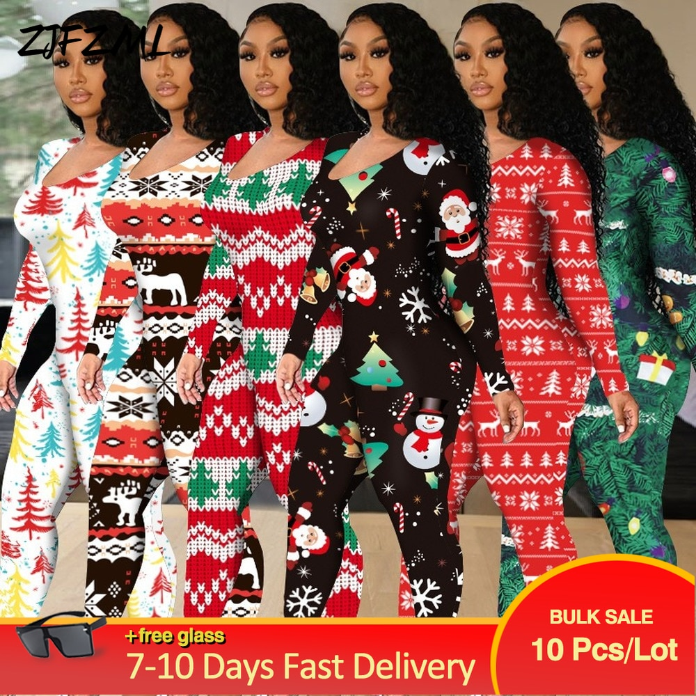 Bulk Lots Wholesale Items Christmas Rompers Womens Jumpsuit New Year Wear Woman Print Long Sleeve Cut Out Party Bodycon Overalls