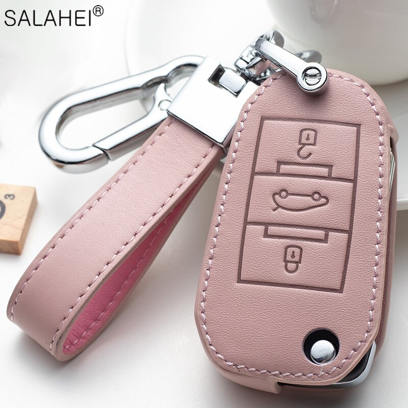 leather car key case cover for citroen c3 c4l c5 c6 c8 c3 xr picasso xsara ds7 for peugeot 301 308 308s 408 2008 3008 4008 5008 Leather Car Key Case Cover Shell For Peugeot 301 308 308S 408 2008 3008 4008 508 For Citroen C4 Auto Accessories KeylessKeychain