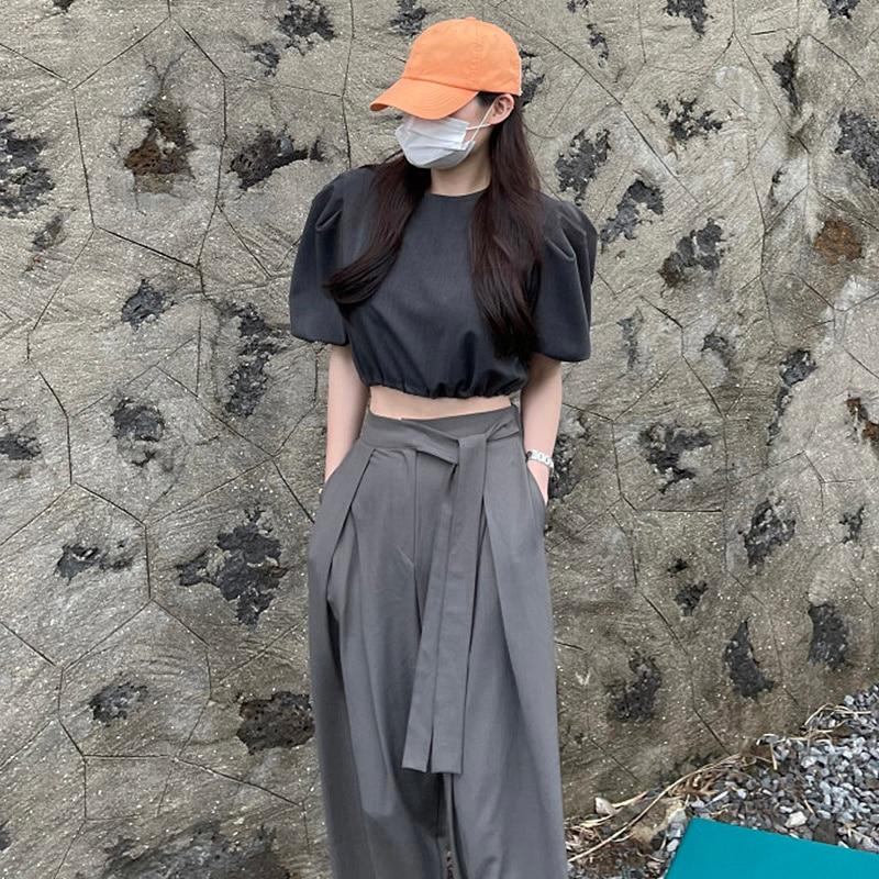 Two Piece Set Women Korean Chic Simple Round Neck Bubble Sleeve Loose Short Open Navel Shirt High Wa